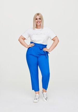 PAPERBAG-HOSE MIT GÜRTEL - Trousers - blau