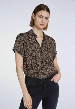 MIT PRINT - Button-down blouse - dark brown camel