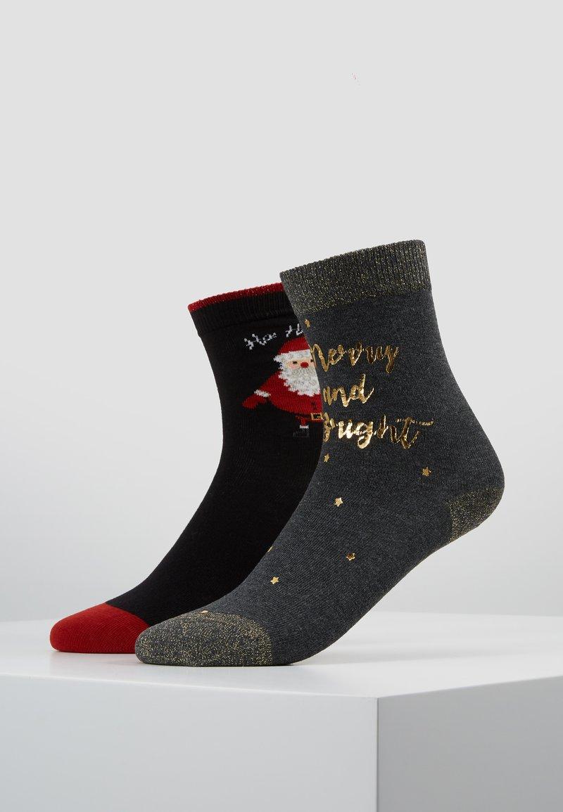 Pretty Polly - MERRY & BRIGHT PRINTED SOCK/SANTA SOCK - Ponožky - dark grey mix/black mix