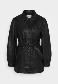 Selected Femme - SLFLILI LONG  - Leather jacket - black - 4