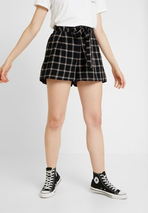 PLAID TIE FRONT - Shorts - black