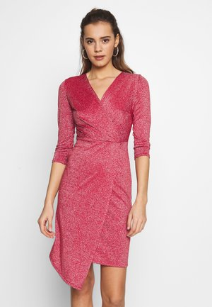 GLITTER FAUX WRAP DRESS - Cocktail dress / Party dress - coral