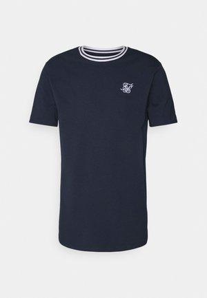 ROLL SLEEVE TEE - Jednoduché triko - navy/white
