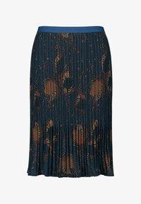 Samoon - MIT FLORALEM DESSIN - Pleated skirt - navy gemustert - 0