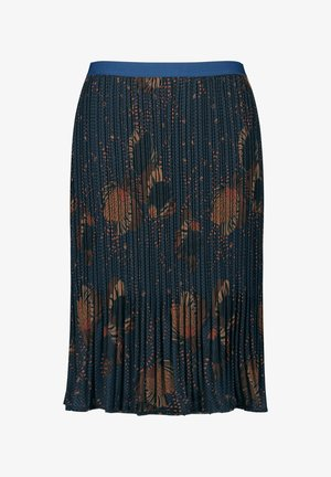MIT FLORALEM DESSIN - Pleated skirt - navy gemustert