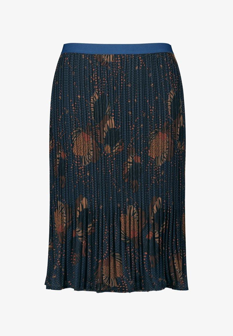 Samoon - MIT FLORALEM DESSIN - Pleated skirt - navy gemustert