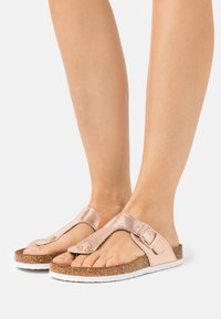 ONLY SHOES - ONLMATHILDA METALLIC TOE SPLIT - T-bar sandals - rose gold - 0