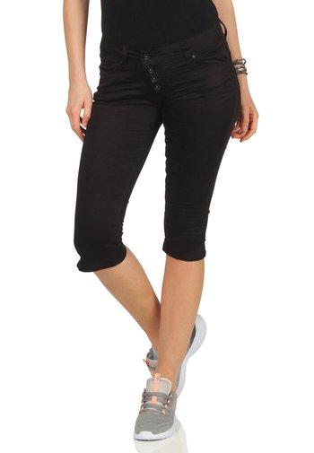 MALIBU CAPRI STRETCH - Denim shorts - black