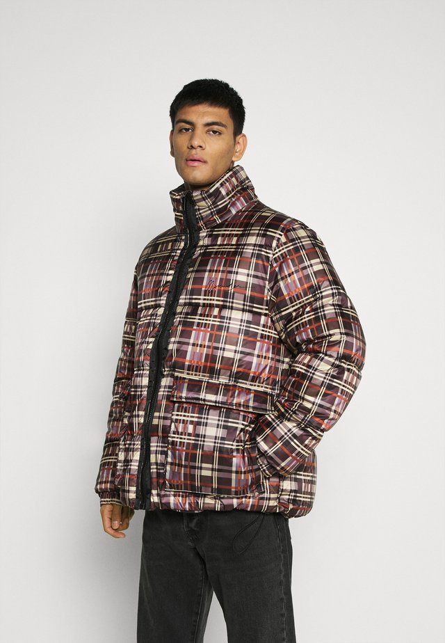 CHECK PUFFER JACKET - Giacca invernale - orange