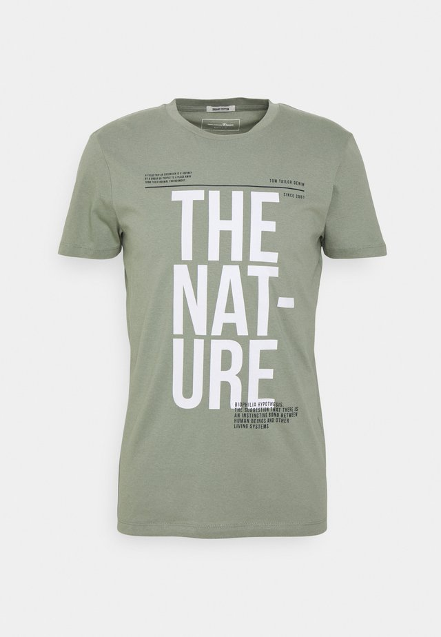 T-shirt imprimé - greyish shadow olive