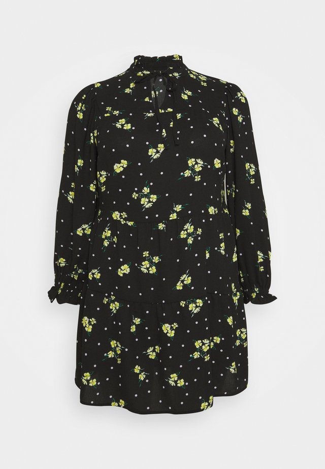 TIERED SMOCK DRESS - Korte jurk - black