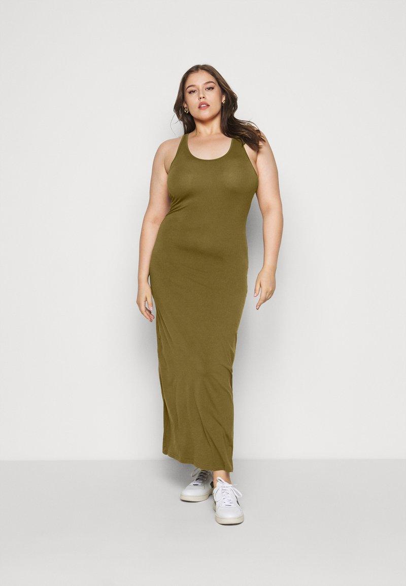 Urban Classics Curvy - LADIES LONG RACER BACK DRESS - Maxi šaty - summer olive