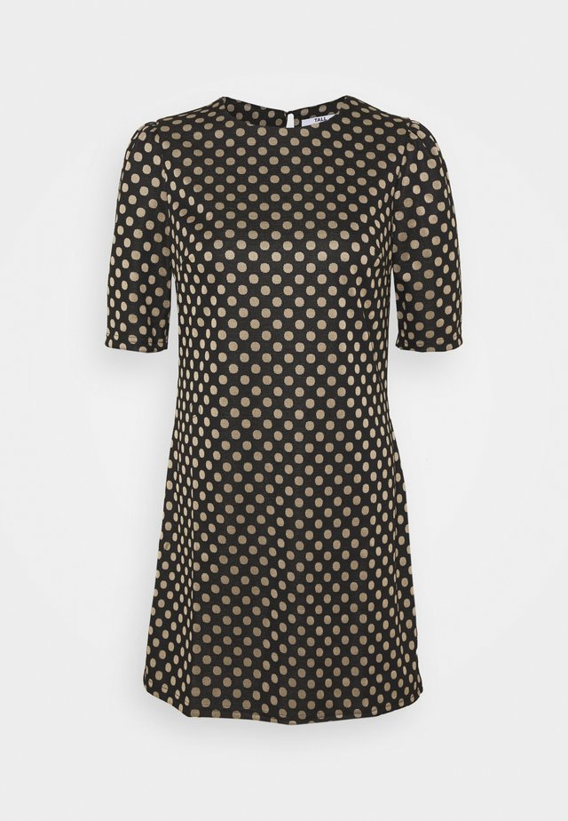 SPOT TUNIC - Shift dress - black/beige