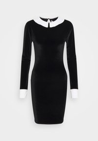 Missguided Tall - EXAGGERATED COLLAR VELOUR DRESS - Shift dress - black - 0