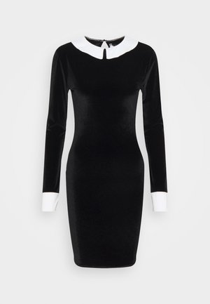 EXAGGERATED COLLAR VELOUR DRESS - Shift dress - black
