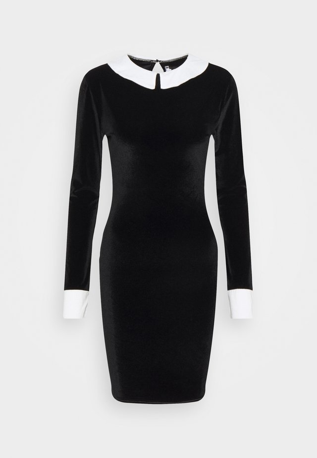 EXAGGERATED COLLAR VELOUR DRESS - Etui-jurk - black