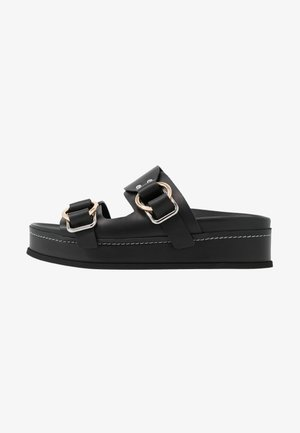FREIDA PLATFORM DOUBLE BUCKLE SLIDE - Mules - black