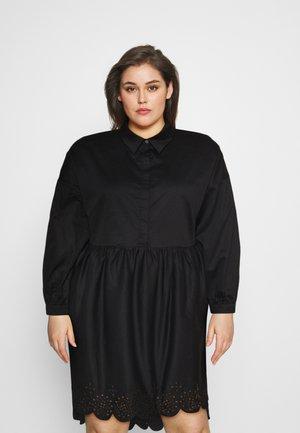 SCALLOP HEM MINI DRESS - Košilové šaty - black