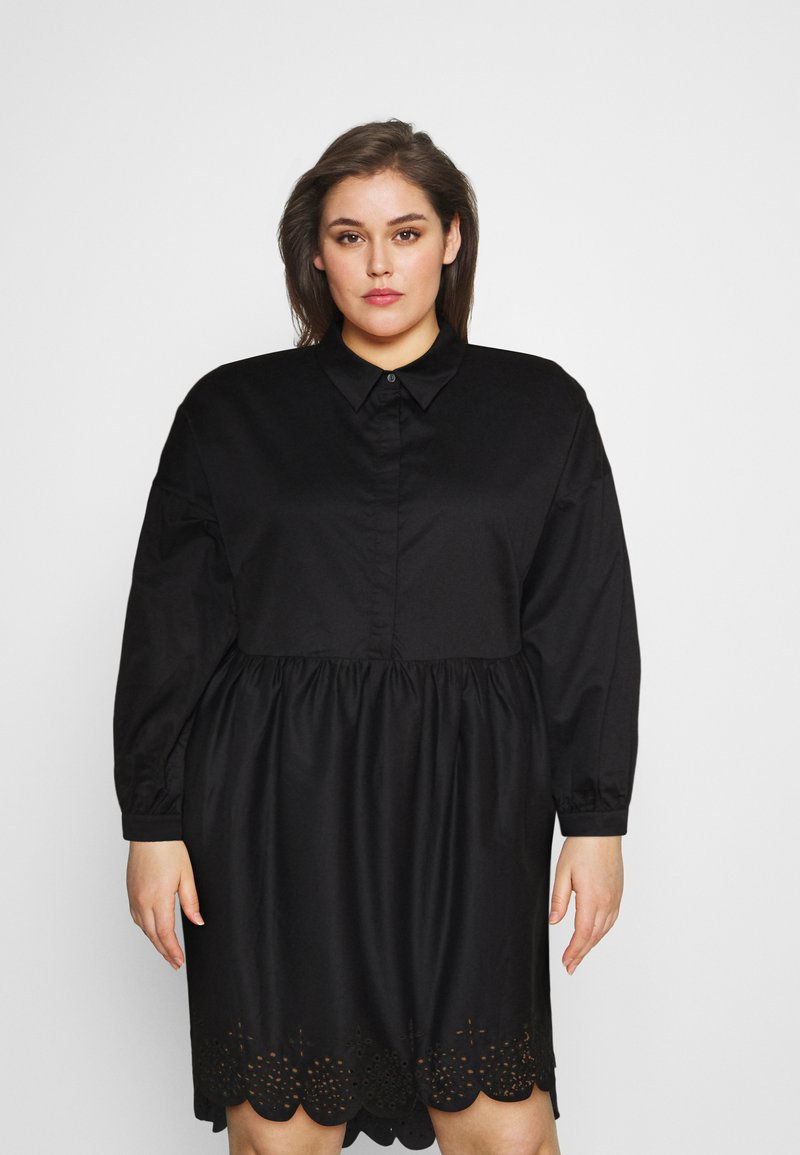 Glamorous Curve - SCALLOP HEM MINI DRESS - Košilové šaty - black