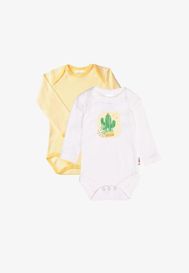 LANGARM- IM 2ER-PACK - Body - gelb geringelt/weiß mit frontdruck