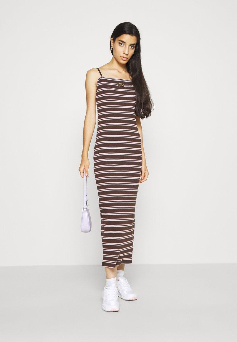Nike Sportswear - FEMME DRESS  - Maxi dress - baroque brown/metallic gold