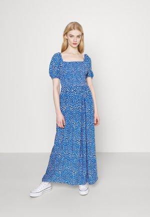 LEO PRINT MAXI SMOCK DRESS - Maxi dress - blue