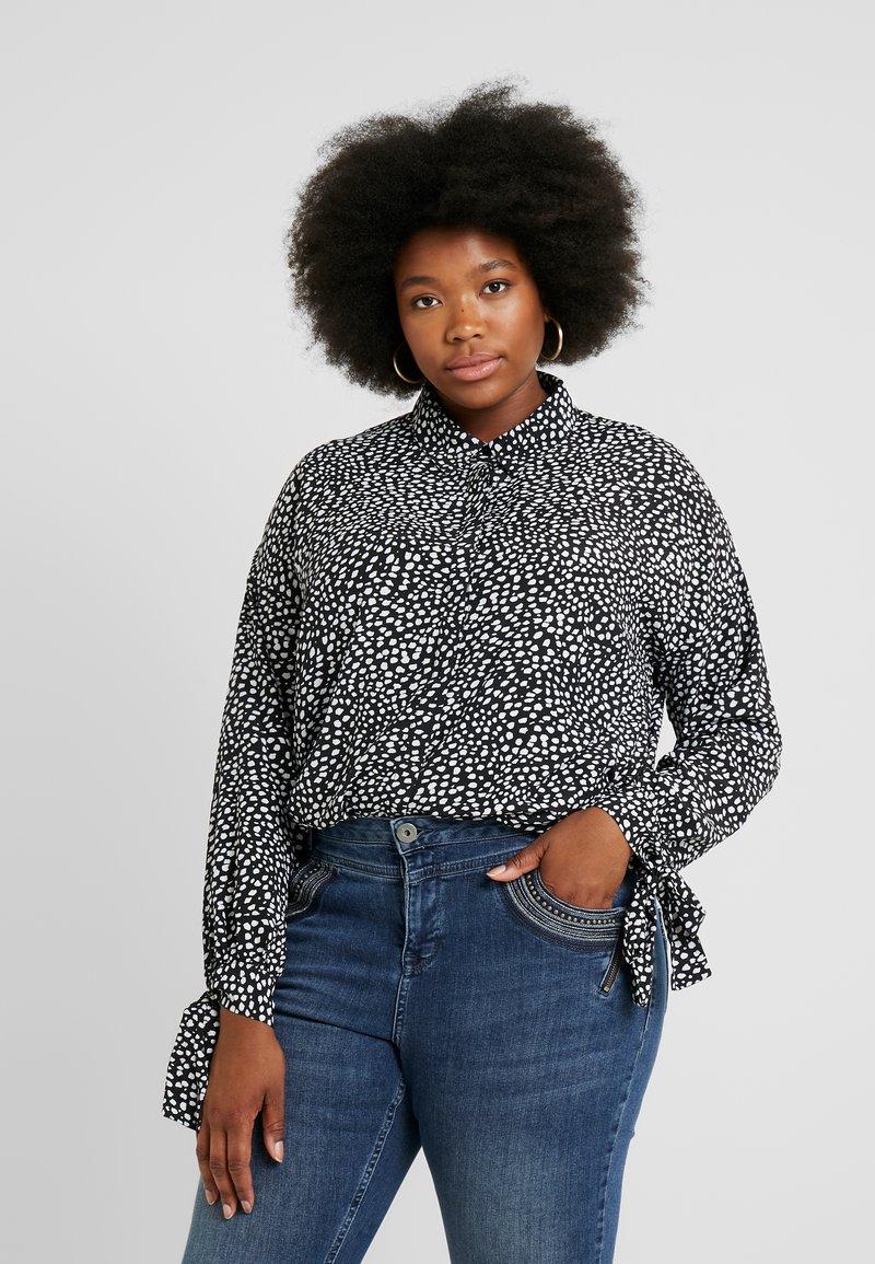 Glamorous Curve - DALMATIAN SPOT TIE SLEEVE - Button-down blouse - monochrome