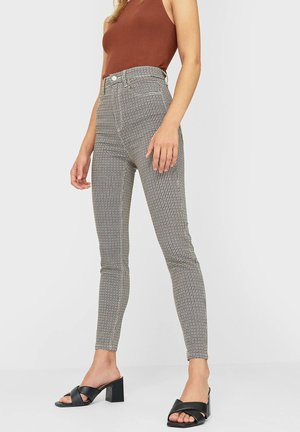 mit superhohem Bund und Print - Pantaloni - beige