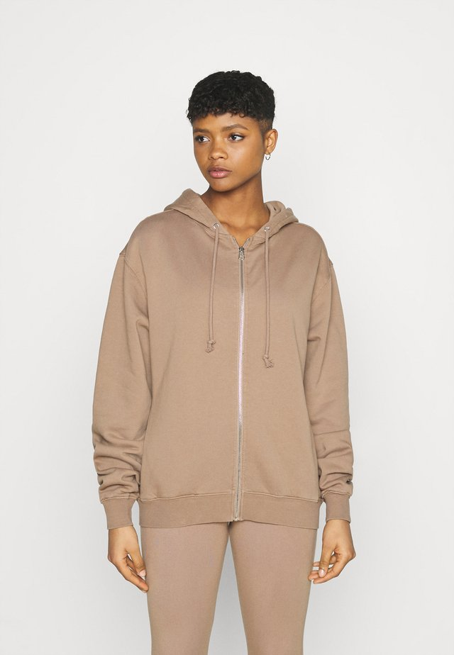 BOYFRIEND ZIP HOODIE - Zip-up sweatshirt - putty