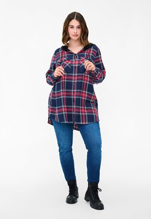 Button-down blouse - night sky/red check