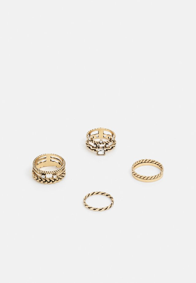 UNENIA 4 PACK - Bague - clear on/gold-coloured