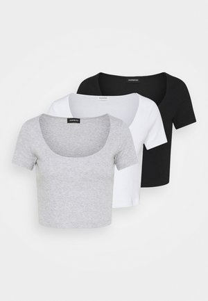 3 PACK - Print T-shirt - black/white/mottled light grey