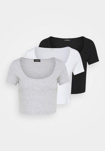 3 PACK - Camiseta estampada - black/white/mottled light grey