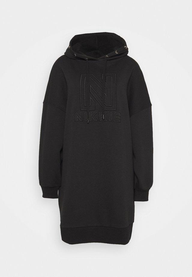 OVERSIZED HOODIE DRESS - Vapaa-ajan mekko - black