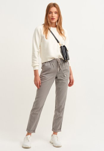 MIT HOHER TAILLE - Trousers - antik mist