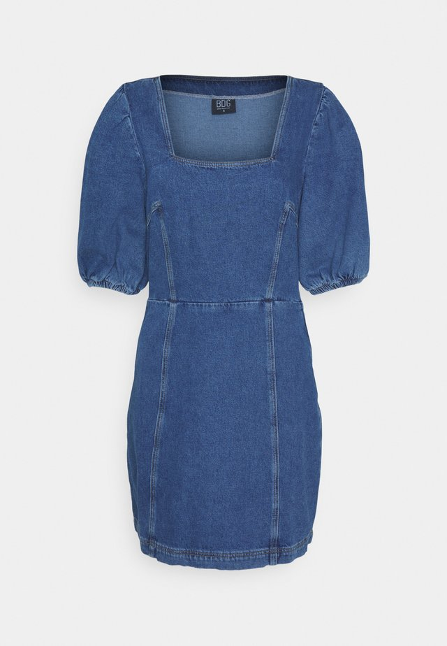 PUFF SLEEVE DRESS - Denní šaty - dark denim
