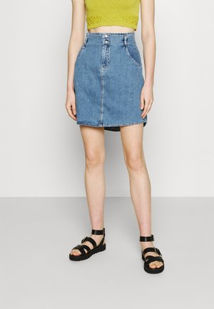 NMASHLEY SHORT SKIRT - Mini skirt - light blue denim