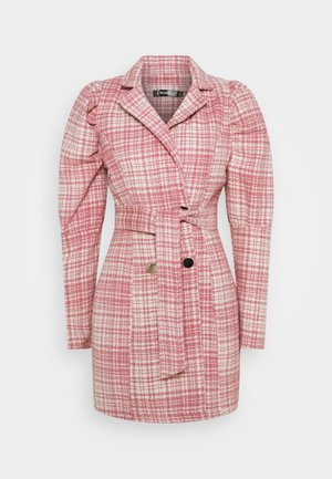 BRUSHED CHECK BELTED BLAZER DRESS - Day dress - pink