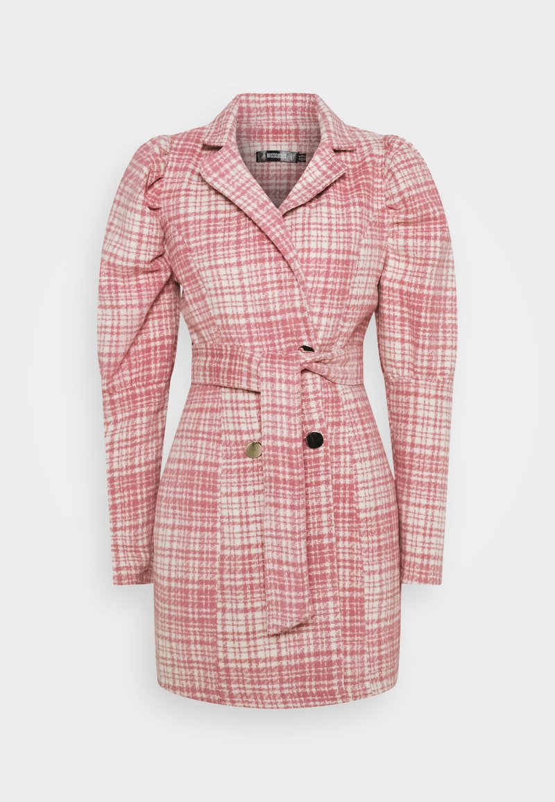 Missguided - BRUSHED CHECK BELTED BLAZER DRESS - Denní šaty - pink