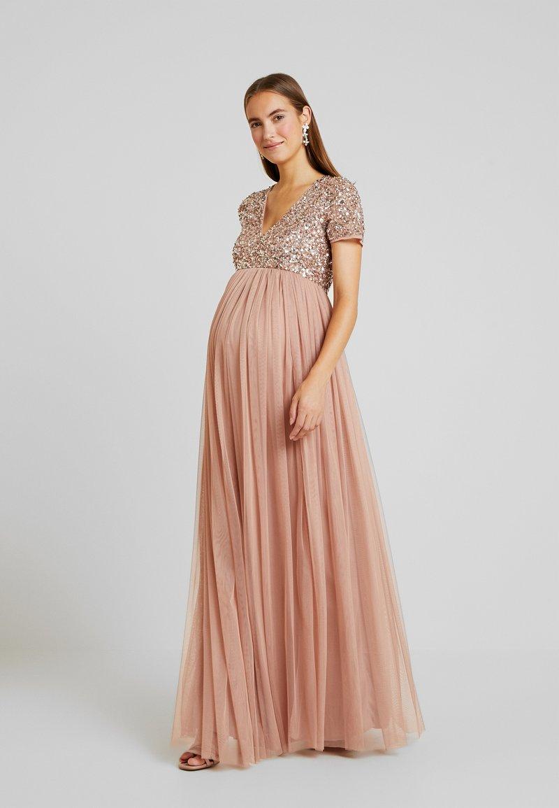 Maya Deluxe Maternity - V NECK SHORT SLEEVE DELICATE SEQUIN DRESS - Iltapuku - pale mauve