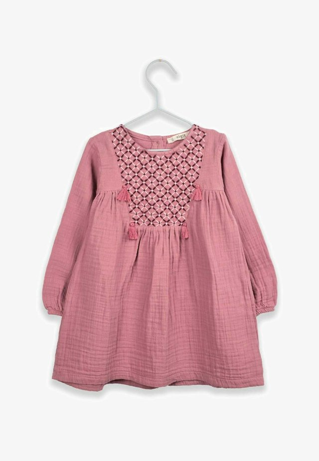 Ethnical Embroideried Muslin Dress with Tassels (2 to 7 years) - Korte jurk - dried rose