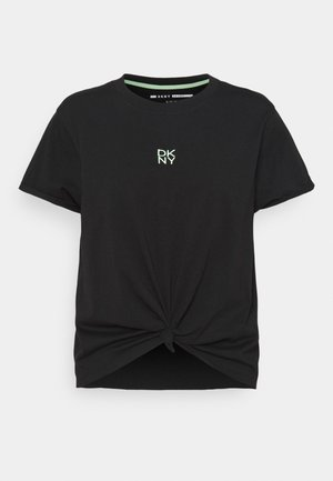 STACKED REPEAT LOGO BOXY KNOT TEE - Print T-shirt - black
