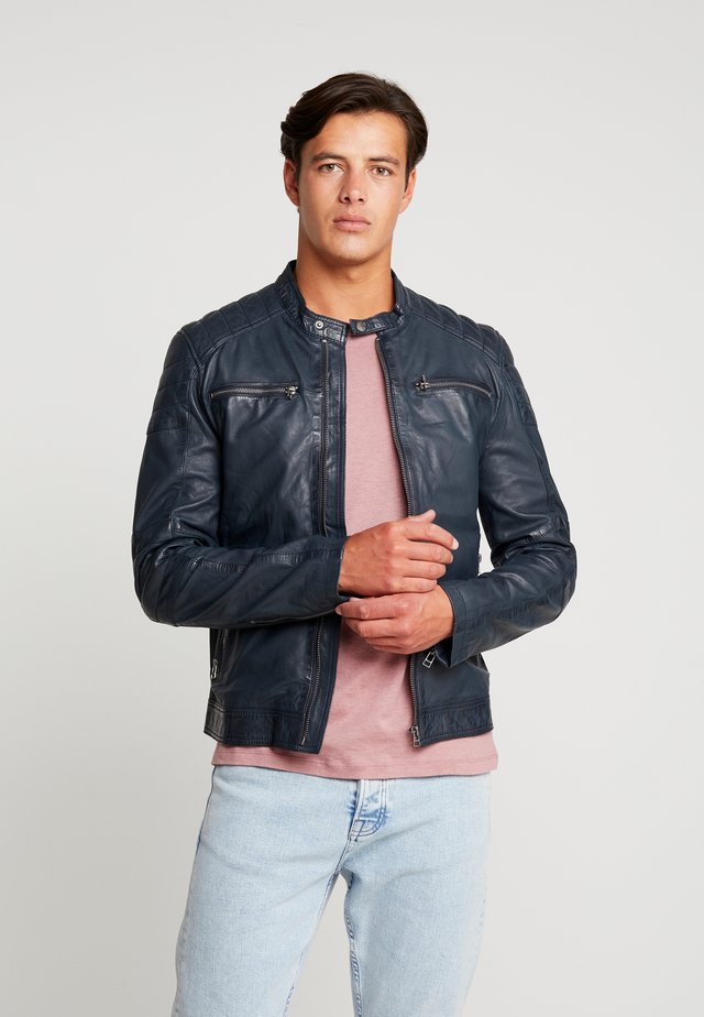 JACKET - Leather jacket - dark navy