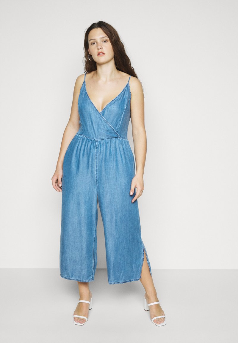 Simply Be - STRAPPY WRAP CULOTTES - Combinaison - mid blue