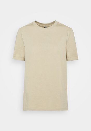 PCRIA FOLD UP SOLID TEE - Basic T-shirt - white pepper