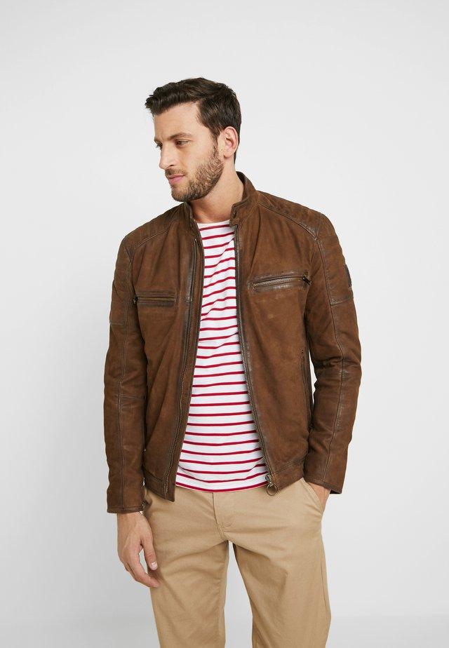 BOLTON - Leather jacket - dark brown