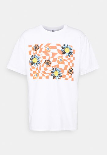 TRIPPY CHECKERBOARD FLOWER GRAPHIC UNISEX - Printtipaita - white with rust