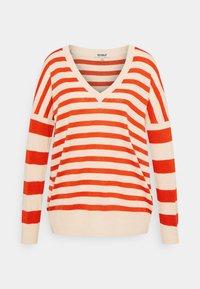 Ecoalf - LEO STRIPE WOMAN - Jumper - beige/red - 0