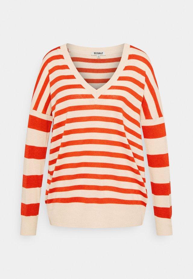 LEO STRIPE WOMAN - Jersey de punto - beige/red