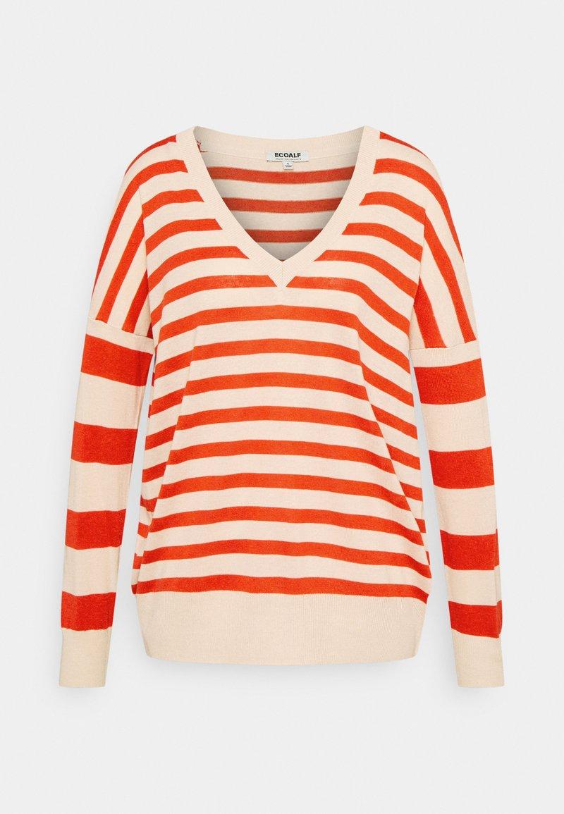 Ecoalf - LEO STRIPE WOMAN - Jumper - beige/red